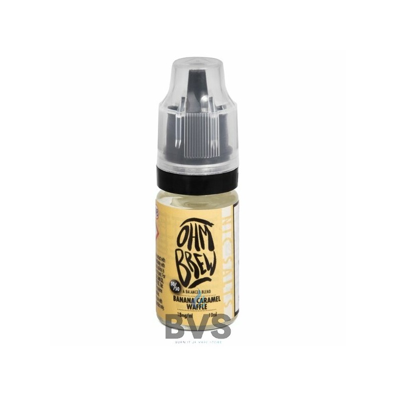 BANANA CARAMEL WAFFLE E-LIQUID BY OHM BREW 50/50 NIC SALTS