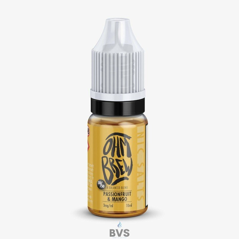 PASSIONFRUIT AND MANGO E-LIQUID BY OHM BREW 50/50 NIC SALTS
