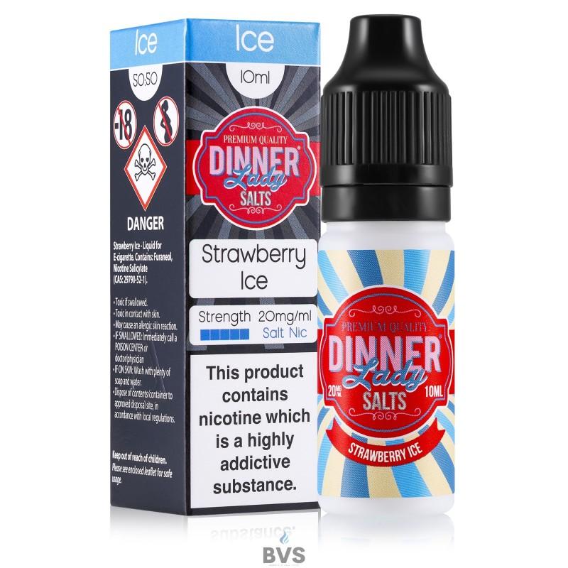 STRAWBERRY ICE NIC SALT ELIQUID BY DINNER LADY