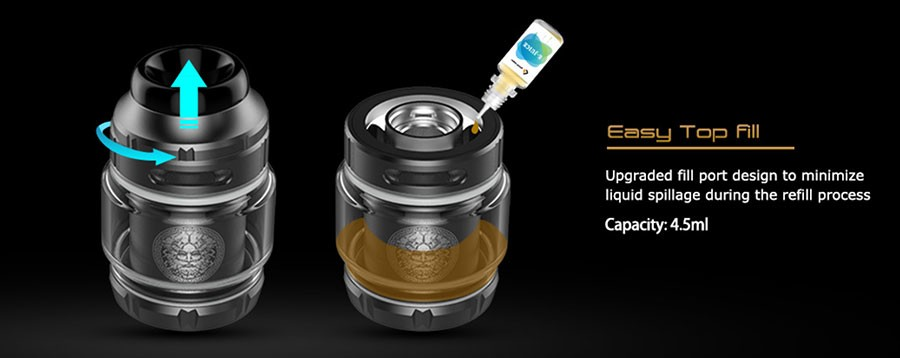 The Zeus X RTA features a top fill method for an easy refill process.