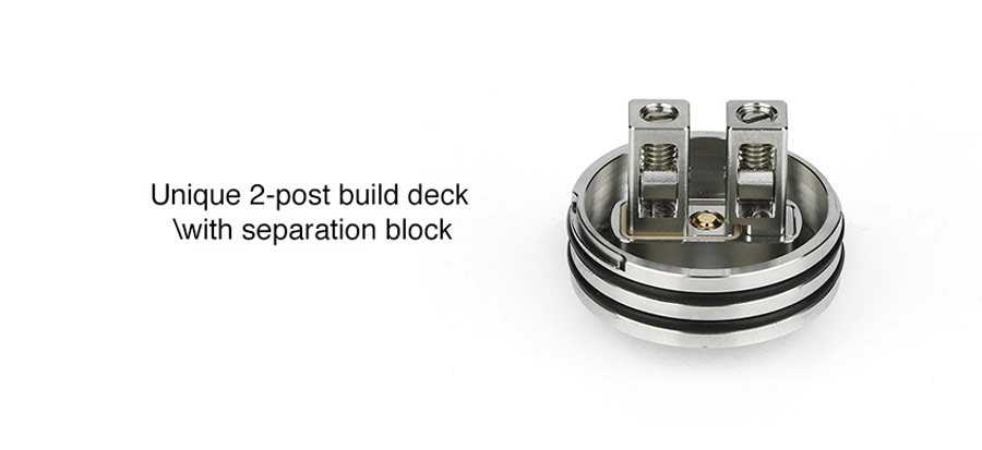 The 24mm Passage RDA features a two post build deck with a separation block for easy mounting of coils.