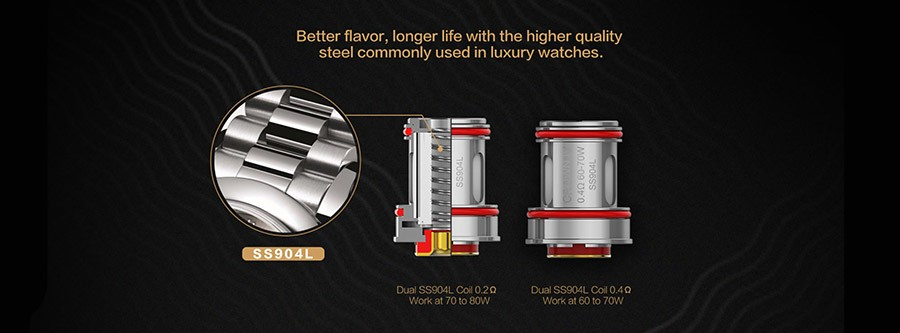 The 2ml Uwell Crown 4 sub ohm vape tank employs the Uwell Crown 4 vape coils available in 0.2 Ohm and 0.4 Ohm variants.