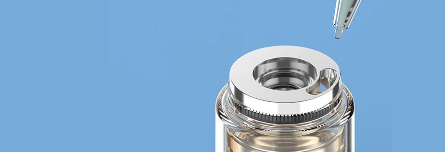 The 2ml SKRR-S Mini vape tank features a threaded top fill cap for an easy refill method.