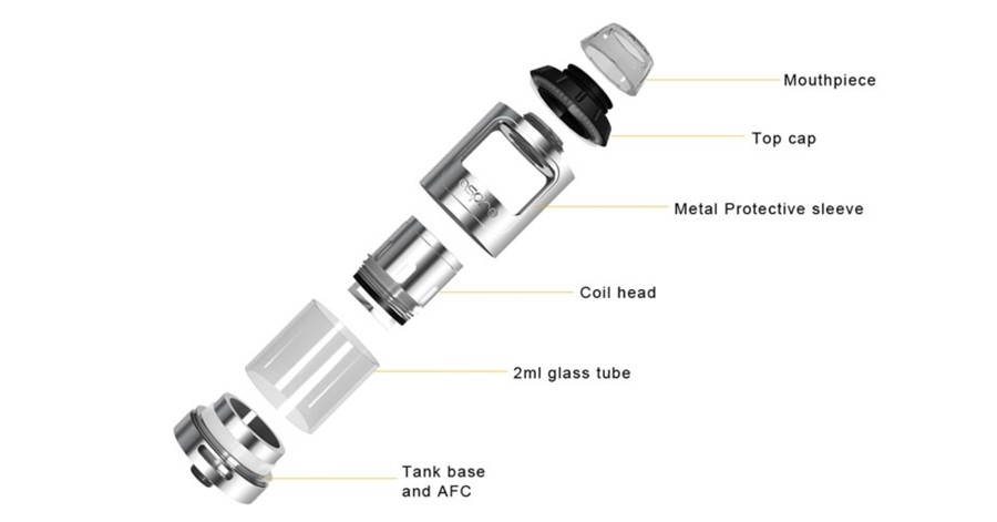 The Aspire Athos is a 2ml sub ohm vape tank which can be dismantled for effective cleaning