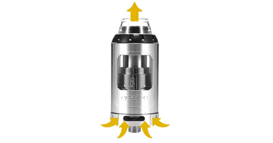 The Aspire 2ml Athos features triple bottom adjustable airflow, for a loose or tight inhale.