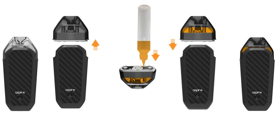 The Aspire AVP refillable pods can be filled multiple times with high PG e-liquids