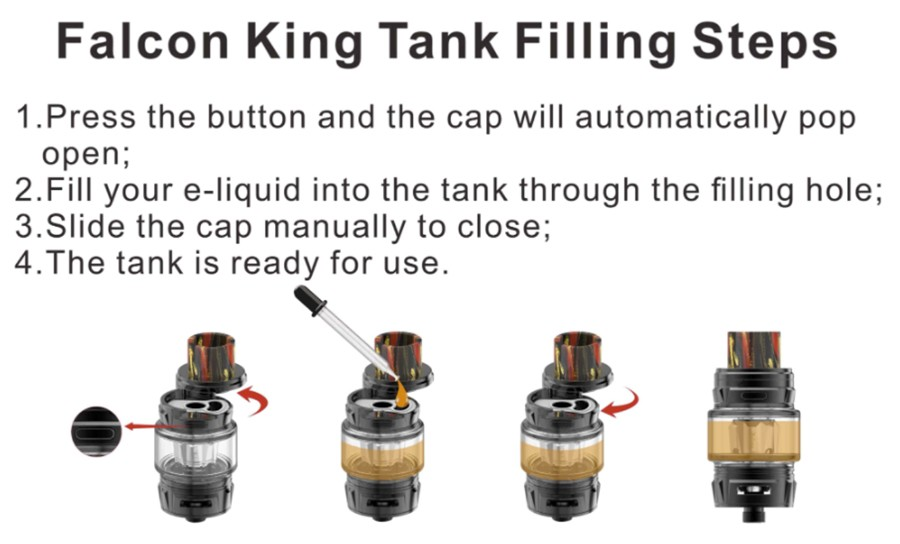 The Falcon King 2ml vape tank features a slide to open top cap and employs the Falcon coil series.