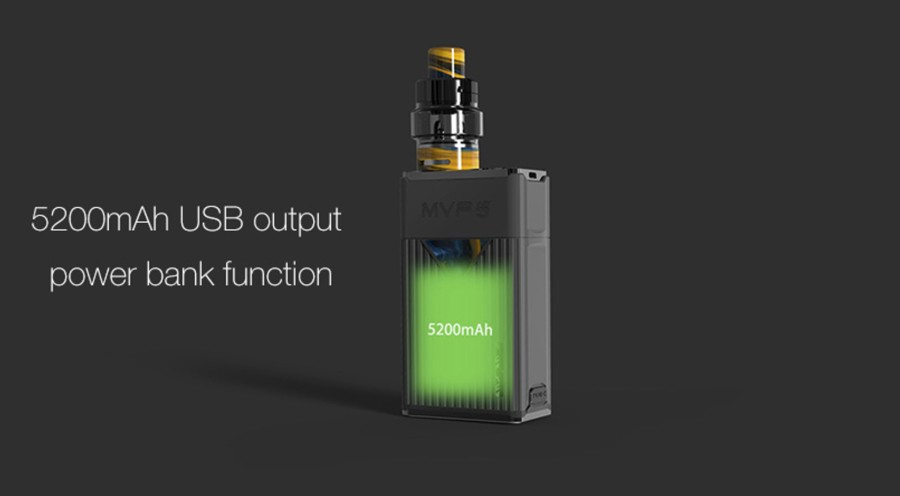 The Innokin MVP5 Ajax kit features a large 5200mAh built-in battery which boasts a power bank function.