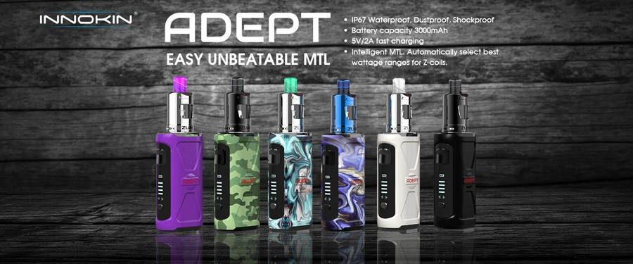 The Innokin Adept Zlide kit is a rugged, simple to use vape kit