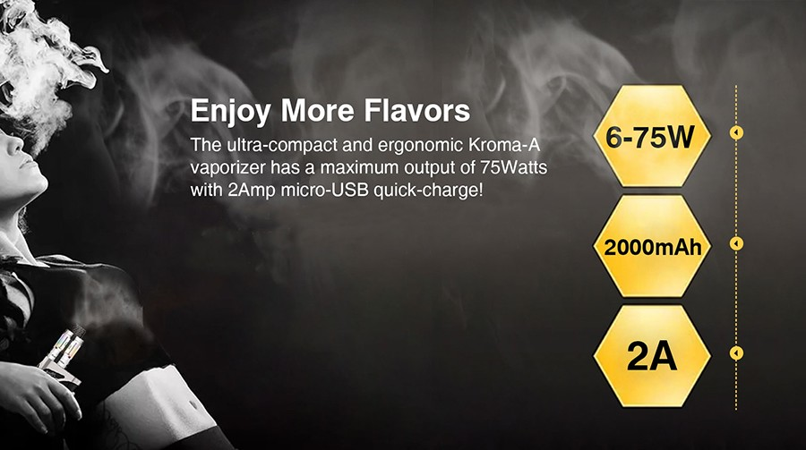 The Innokin Kroma A vape kit features a large capacity battery and a high power output.