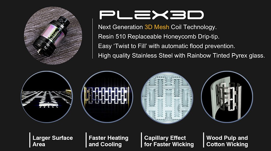 The Innokin Plex 3D vape coils will produce large amounts of cloud and feature an innovative coil and wick design.