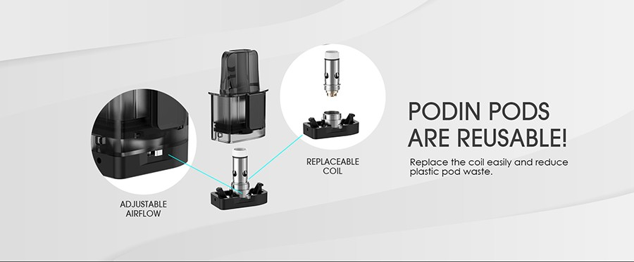 The Podin replacement pods feature adjustable airflow and an interchangeable coil system which a quick and easy to replace.