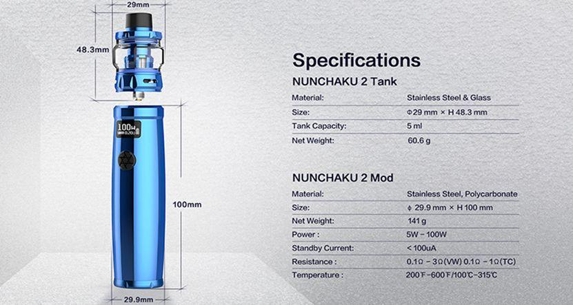 Uwell Nunchaku 2 Specifications Specs