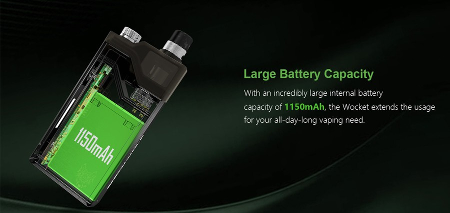 The Wocket vape kit uses a large capacity 1150mAh battery