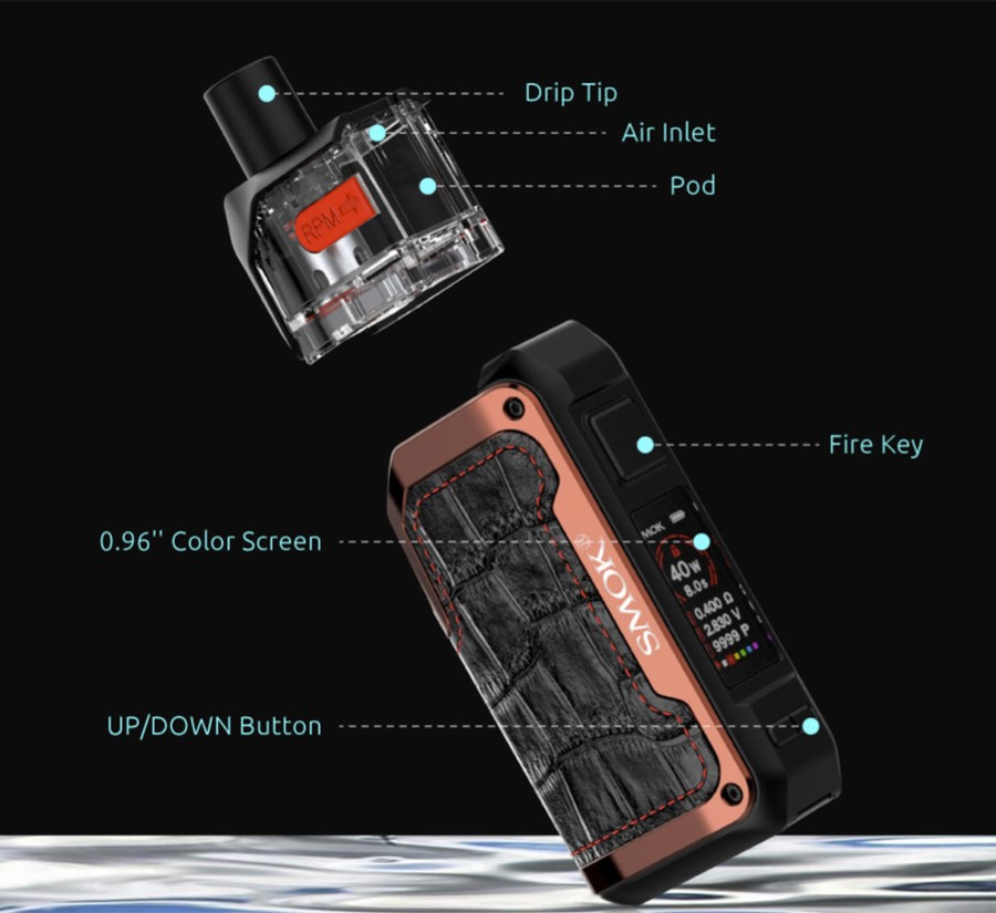The Smok Alike is a sub ohm pod kit powered by a large 1600mAh battery and features a striking design.