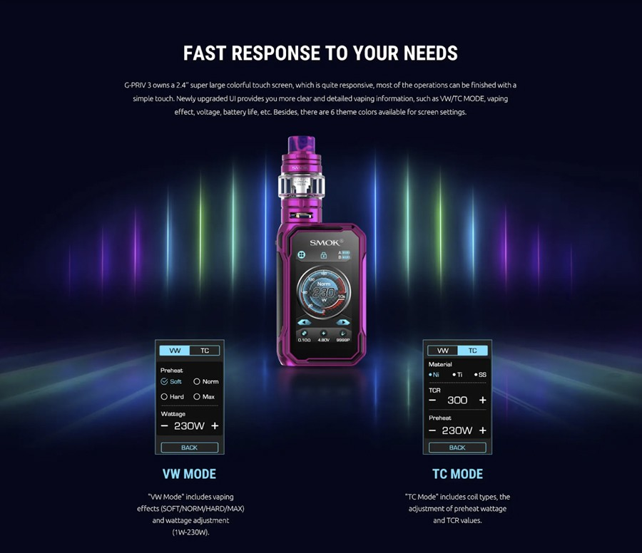 The Smok G-Priv 3 kit gives access to a range of output modes including Variable Wattage and Temperature Control courtesy of the IQ-G chipset.
