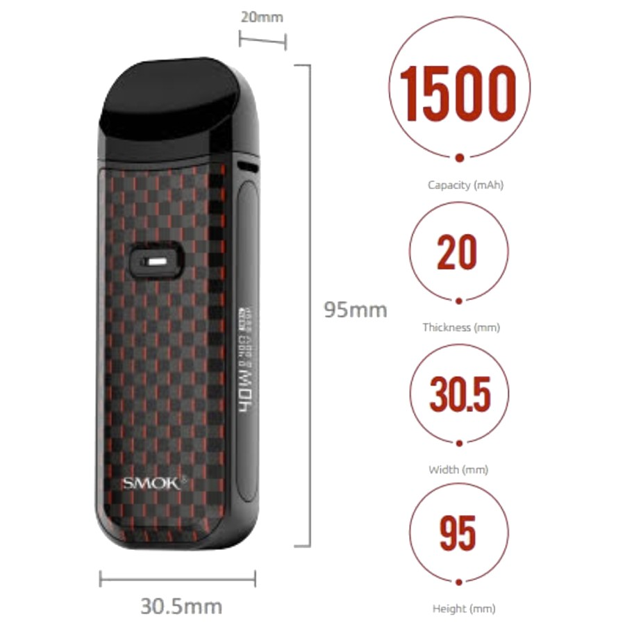 The Smok Nord 2 pod kit is powered by a 1500mAh battery and features a pocket-friendly design.