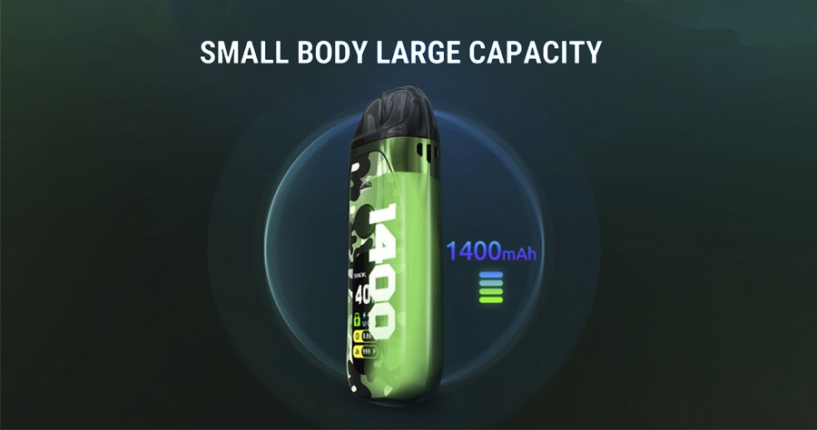 The Smok Vape Pozz X kit is fitted with a larger 1400mAh battery.