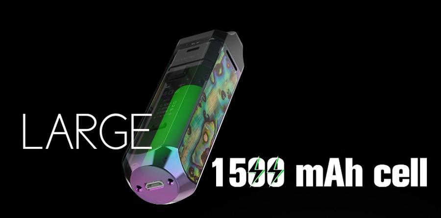 The RPM 40 Smok kit utilises an inbuilt 1500mAh battery for all-day vaping