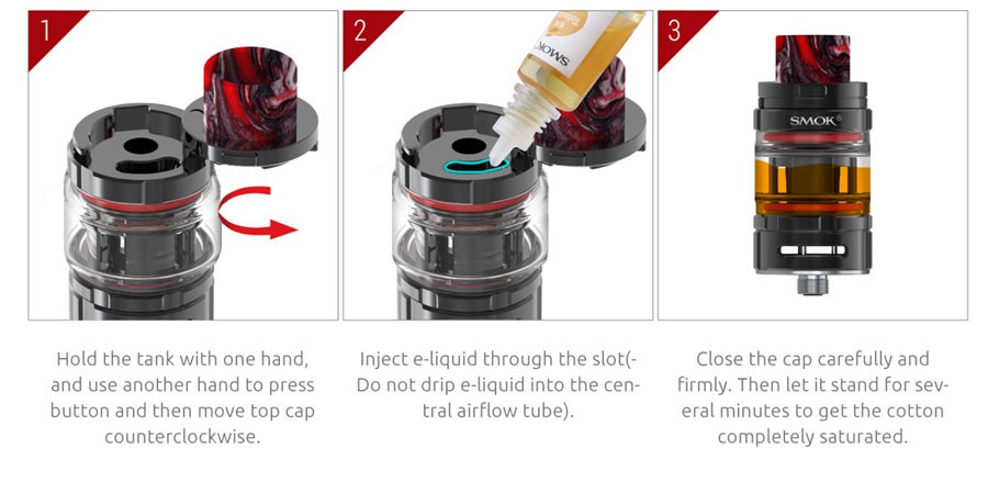 The Smok TFV Mini V2 tank features top filling for quick and clean refilling.