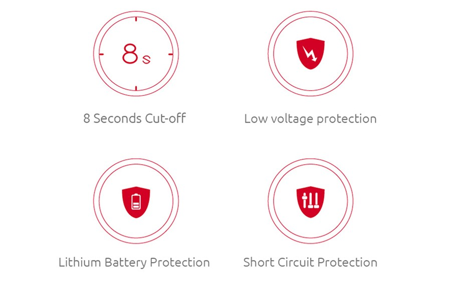 A range of safety features including Short Circuit Protection, Low Voltage and an 8-Second Cutoff, secures the Stick V9 for a longer lifespan.