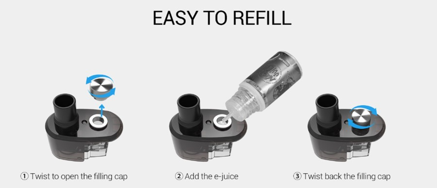 The Snowwolf 2ml Taze pods feature a threaded top cap refill, which is both practical and reduces the chance of leakage.