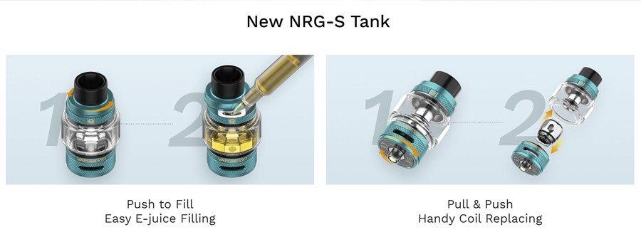 The 2ml Vaporesso NRG-S vape tank features secure top filling and quick coil changing.