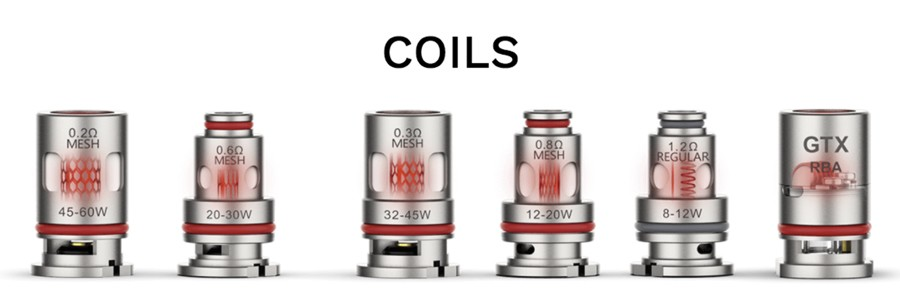 The Vaporesso PM80 SE kit is compatible with original PM80 replacement pods, which employ the GTX coil series available in a range of resistances and types.