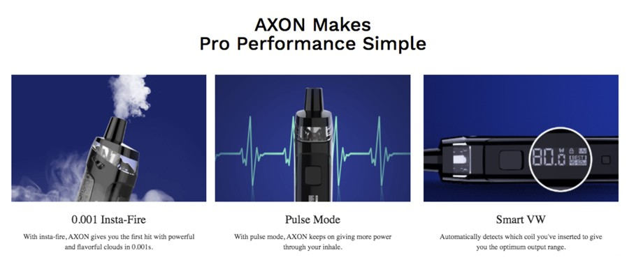 The PM80 SE kit features an AXON chipset which gives access to Pulse Mode, Smart Variable Wattage and a 0.001 second firing speed.