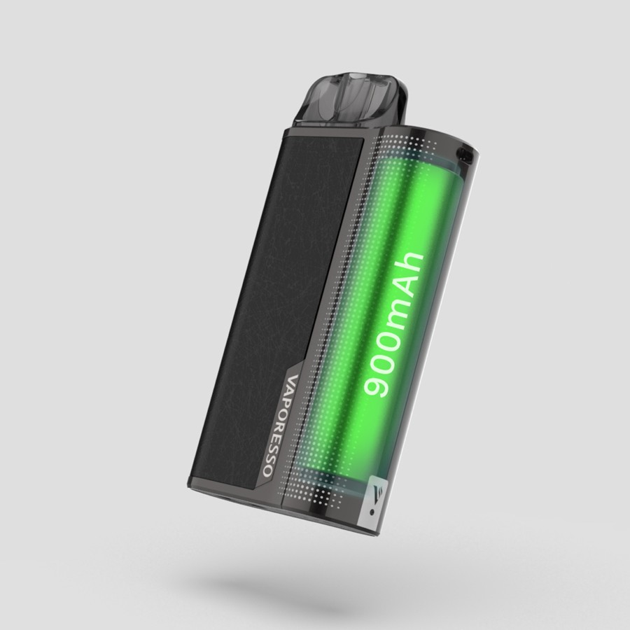 The XTRA pod kit is powered by a large capacity 900mAh built-in battery.