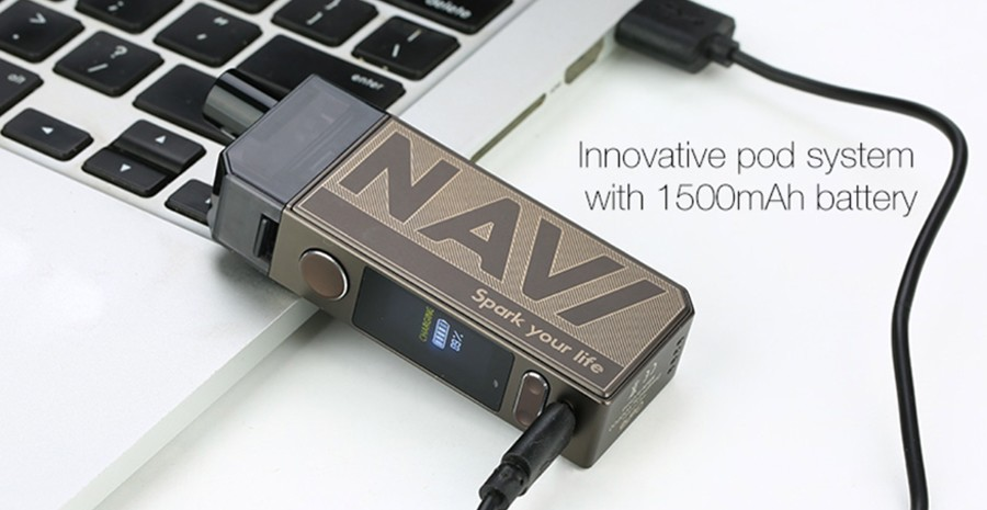 The Voopoo Navi pod kit is powered by a 1500mAh battery and features an adjustable 40W max output.